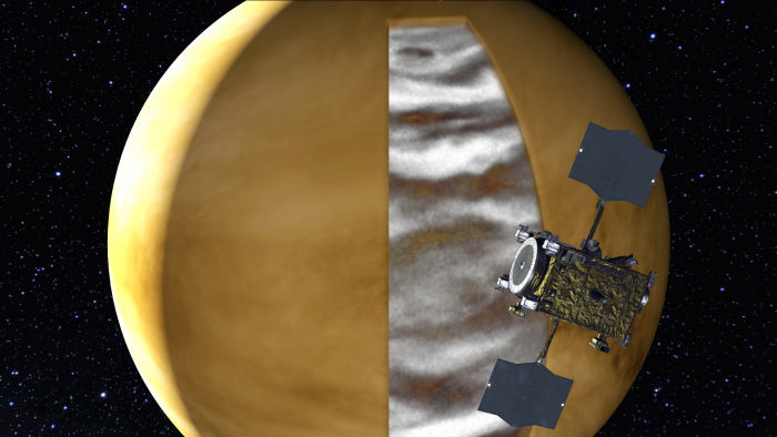 Figure 1: Artificial rendering of Akatsuki's observations for the night side of Venus.