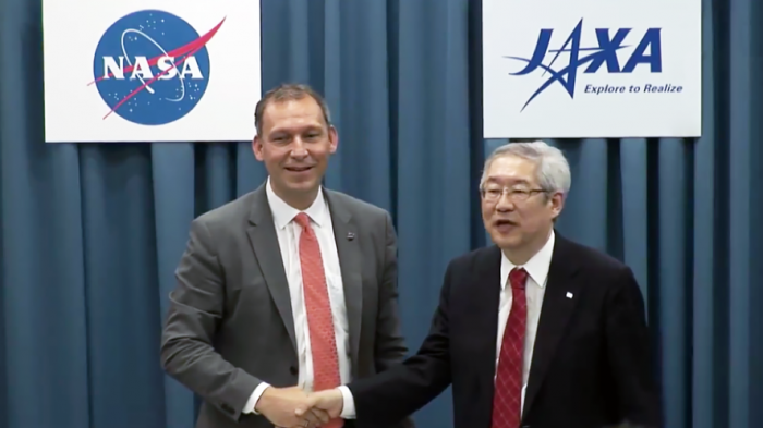 Thomas Zurbuchen, the Associate Administrator for the Science Mission Directorate of NASA and Saku Tsuneta, the Director General of ISAS/JAXA