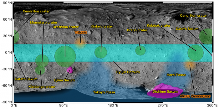 Figure 1: Map of Ryugu showing the place names