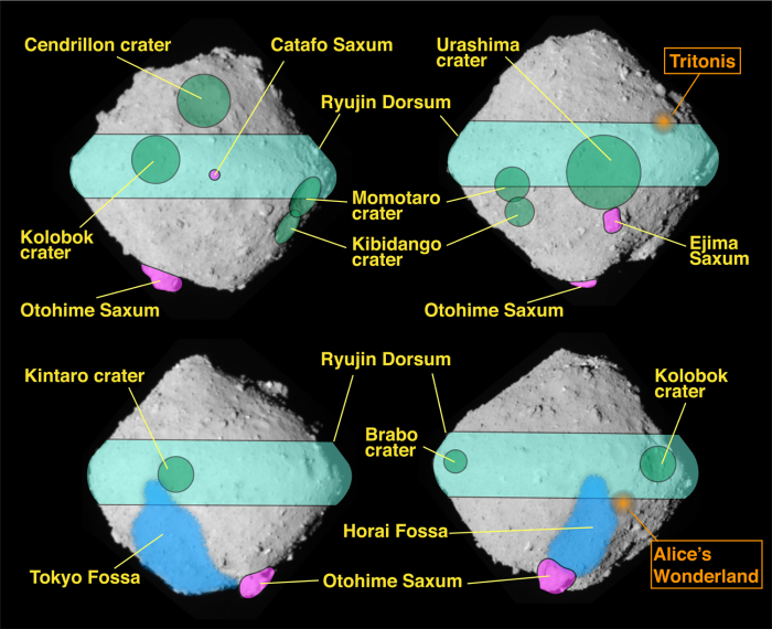 Figure 2: The location of place names on Ryugu