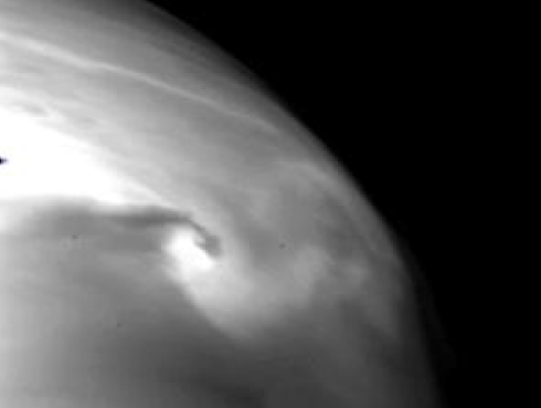 Figure: A localized vortex near the cloud base as imaged with IR2. Although similar vortices are seen in the earth atmosphere, this is seen for the first time in Venus' atmosphere.