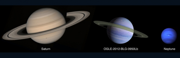 Comparison of Saturn and Neptune to an artist's conception of planet OGLE-2012-BLG-0950Lb. CREDIT: NASA/JPL/GODDARD/F. REDDY/C. RANC
